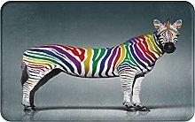 AMIGGOO Entrance Rug Floor Mats,Zebra With Rainbow