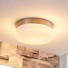 Amilia bathroom ceiling light with glass lampshade