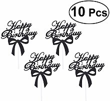 Amosfun 10Pcs Bow Cake Topper Birthday for