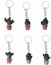Amosfun 12pcs Cactus Keychain Backpack Bag Hangbag