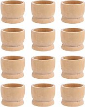 Amosfun 12pcs Wooden Egg Cup Holders DIY Blank