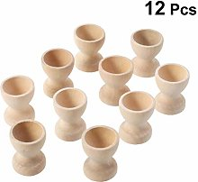 Amosfun 12pcs Wooden Egg Cup Holders Stands DIY