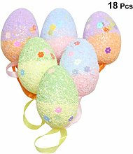 Amosfun 18Pcs Hanging easter eggs decorative
