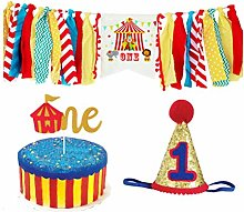 Amosfun 1st Birthday Chair Banner Circus Birthday