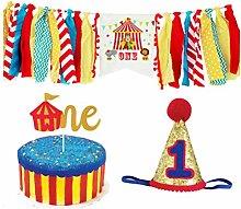 Amosfun 1st Birthday Chair Banner Circus Birthday