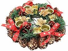Amosfun 20cm Christmas Wreath Candle Holder with