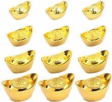 Amosfun 20pcs Chinese New Year Cake Topper Gold