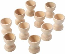 Amosfun 20Pcs Wooden Egg Cup Holders DIY Blank