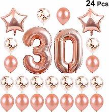 Amosfun 24Pcs 30Th Birthday Decorations Balloons