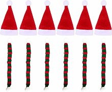 Amosfun 24pcs Mini Christmas Hat and Scarf Santa