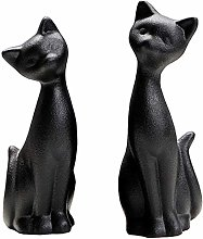 Amosfun 2Pcs Black Cat Figurines Ceramic Couple