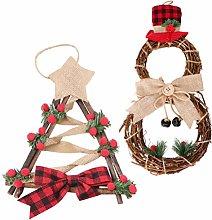 Amosfun 2pcs Christmas Door Wreath with LED String