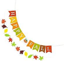 Amosfun 2pcs Paper Thanksgiving Hello Fall Banner