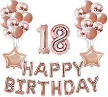 Amosfun 37Pcs Birthday Balloons Set 18 Years Old