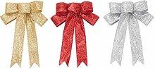 Amosfun 3pcs 23cm Christmas Tree Bow Topper Gift