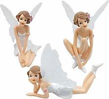Amosfun 3PCS Fairy Figurines Angel Cake Topper
