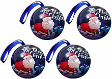 Amosfun 4 Pcs Christmas Tinplate Candy Ball Box