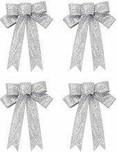 Amosfun 4pcs 23cm Christmas Tree Bow Topper Gift