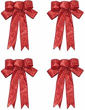 Amosfun 4pcs 23cm Christmas Tree Bow Topper Gift