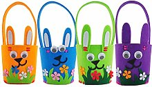 Amosfun 4PCS Easter Bunny Bags Flower Basket for