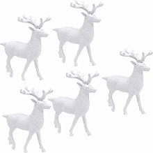 Amosfun 5Pcs Christmas Deer Figurines Mini