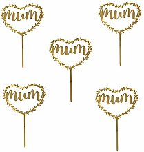 Amosfun 5PCS MUM Cake Toppers Mother's Day