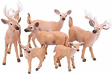 Amosfun 6 Pcs Mini Deer Cake Toppers Christmas