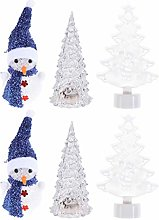 Amosfun 6Pcs Christmas Table Night Lamp Xmas Tree