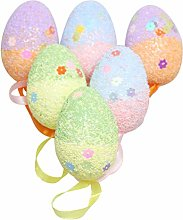 Amosfun 6PCS Foam Easter Egg Decorative Hanging