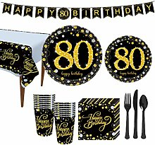 Amosfun 80th Birthday Party Supplies 30th Birthday