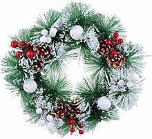 Amosfun Artificial Christmas Wreath with Pine Cone