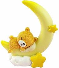 Amosfun Bear Moon Cake Topper Car Bobble Head Toy