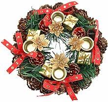Amosfun Christmas Candle Ring Artificial Pine Cone