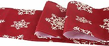 Amosfun Christmas Table Runner Xmas Snowflake