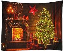 Amosfun Christmas Tapestry Wall Hanging Fireplace