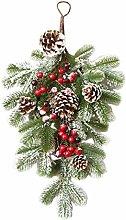 Amosfun Christmas Wreath Artificial Teardrop