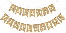 Amosfun Eid mubarak burlap banner muslim eid
