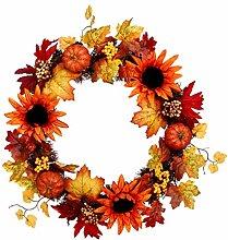 Amosfun Fall Wreath Maple Leaf Wreath Lighted