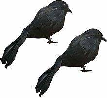 Amosfun Halloween Crows Prop Realistic Black