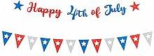 Amosfun Happy 4th of July Banner American
