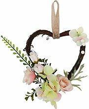 Amosfun Heart Wreath Rattan Wreath Wedding Door