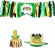 Amosfun One Birthday High Chair Banner Jungle