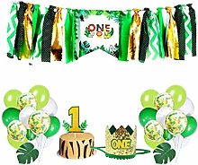 Amosfun One Birthday High Chair Banner Jungle