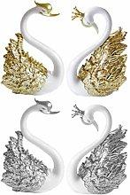 Amosfun Swan Cake Topper Crown Swan Figurine