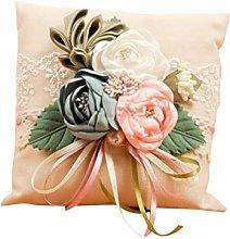 Amosfun Wedding Ring Pillow Cushion Rustic Rose