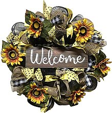 Amosfun Welcome Wreath Sign Decorative Welcome