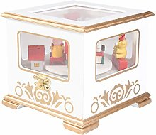 Amosfun White Christmas Wood Music Box Xmas Music
