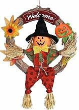 Amosfun Witch Halloween Wreath Halloween Front