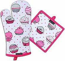 AMOUR INFINI Oven Mitt and Pot Holder Set Cup Cake