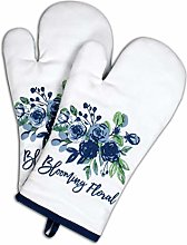 AMOUR INFINI Set of 2 Oven Mitts Blooming Floral  
